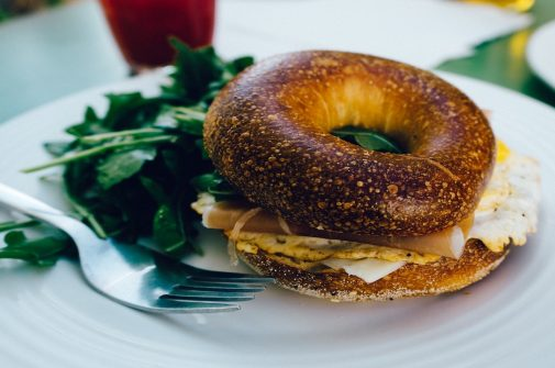 Fancy bagel on a plate