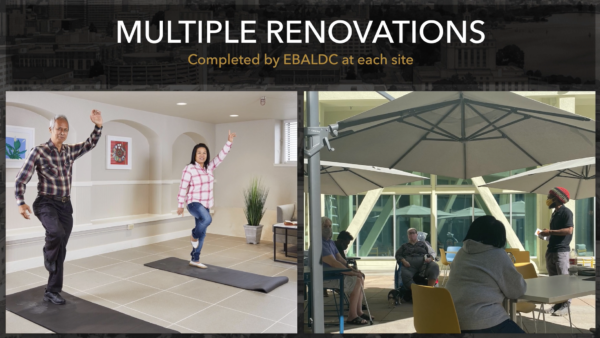 Two images, one of Asian elders doing yoga, the other of African-American and Latine elders gathering at outdoor tables. Above both images are the words 'Multiple Renovations completed by EBALDC at each site.